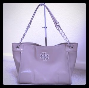 Tory Burch Patent Leather Tote Like New Taupe Grey